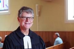 Pfr. Andreas Brändle begrüsst zur Einweihung des Gemeindebaums, Sonntag, 23. August 2020, evang. Kirche Diepoldsau