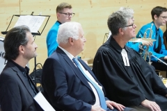 Von links: Katechet Rainer Reich, Pfr. Urs Dohrmann, Pfr. Andreas Brändle - Feldgottesdienst vom 30. August 2020